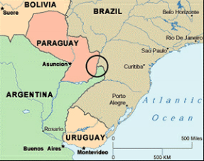 The Tri-Border Area where the borders of Paraguay, Argentina and Brazil meet.