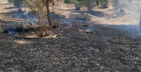 Fire in a community near the Gaza Strip caused by a incendiary balloon.