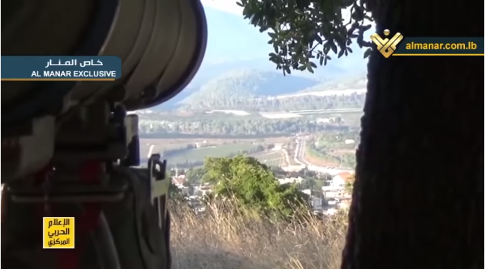 Pictures from a Hezbollah video of the anti-tank missile fire (al-Manar TV, September 2, 2019).