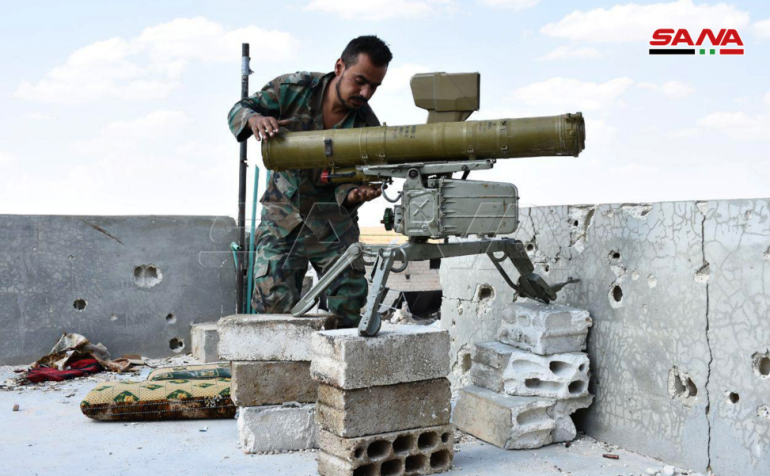 Rebel organizations' antitank missile launcher seized by the Syrian army (SANA, August 31, 2019)