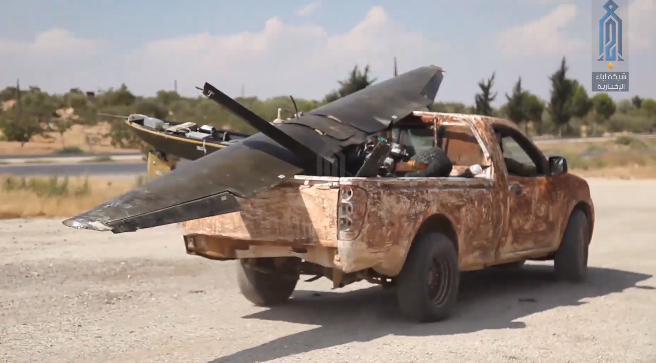 Iranian UAV shot down by operatives of the Headquarters for the Liberation of Al-Sham. The UAV was loaded on a vehicle and carried away (Ibaa, August 31, 2019)
