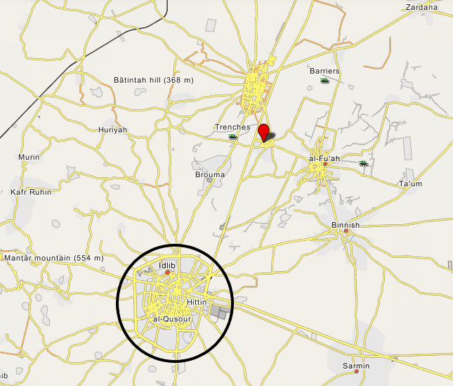 The village of Kafraya (marked in red), northeast of Idlib, near the site of the US airstrike (Wikimapia)