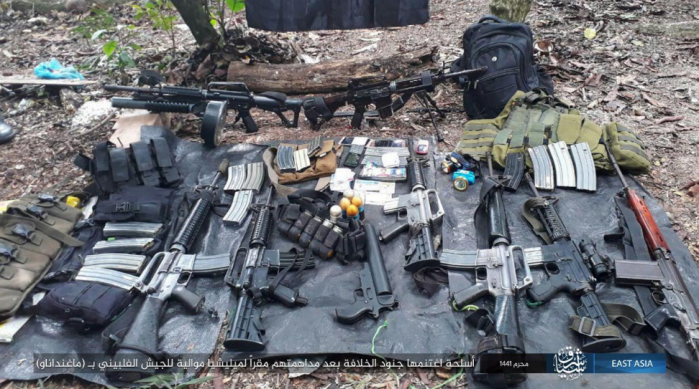 Weapons, ammunition and photos of militia fighters seized by ISIS operatives on Mindanao Island (Telegram, August 31, 2019)