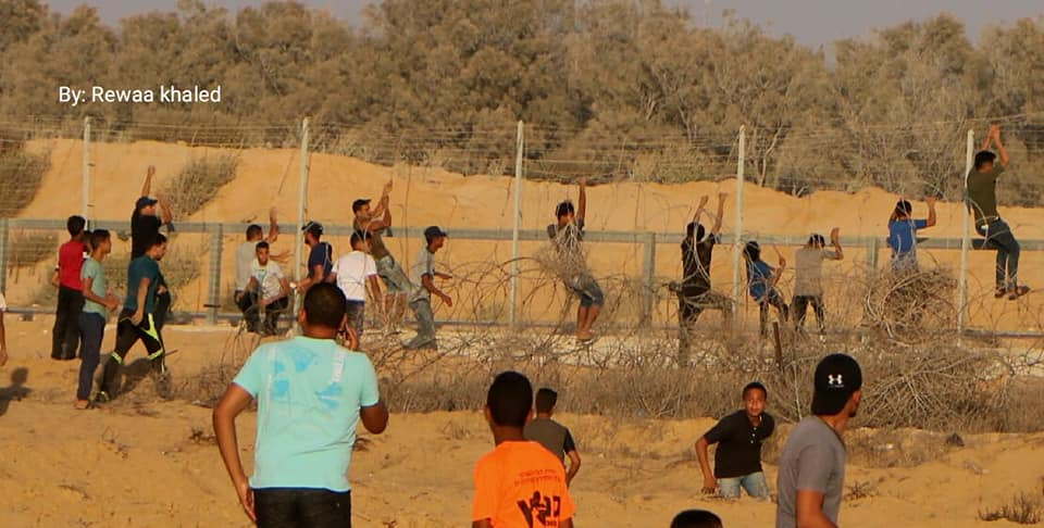 Rioters, mainly adolescents and children, climb the security fence in eastern Rafah (Supreme National Authority of the Great Return March Facebook page, September 6, 2019).