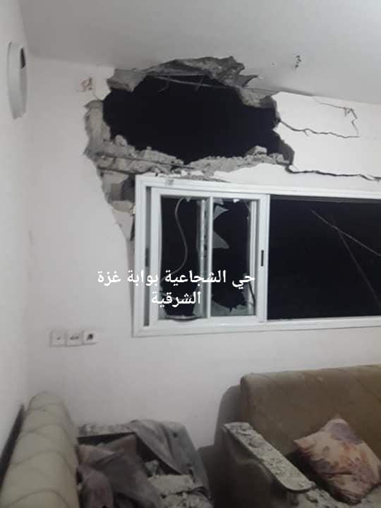 Damage from a rocket launched at Israeli territory which fell on a house in the eastern Gaza Strip (Shja3eya Facebook page, September 8, 2019).