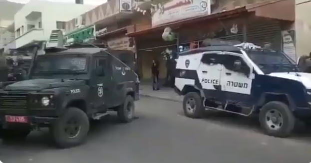 Israeli security forces operating in the village of Azoun after the stabbing attack (QudsN Facebook page, September 7, 2019).