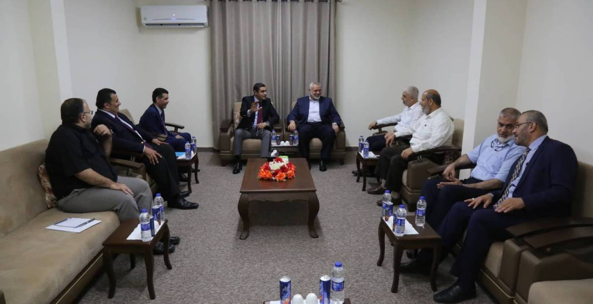 The Egyptian security delegation meets with senior Hamas figures (Hamas website, September 8, 2019).