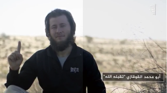 ISIS operatives in the Sinai Peninsula appearing in the video. An operative from Caucasus appears on the left (Telegram, September 8, 2019).