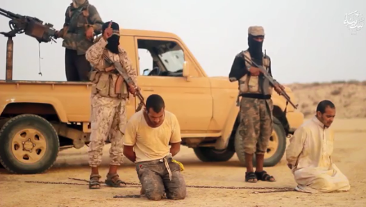 Execution of collaborators with the Egyptian regime at a checkpoint set up by ISIS operatives in Sinai (Telegram, September 8, 2019)