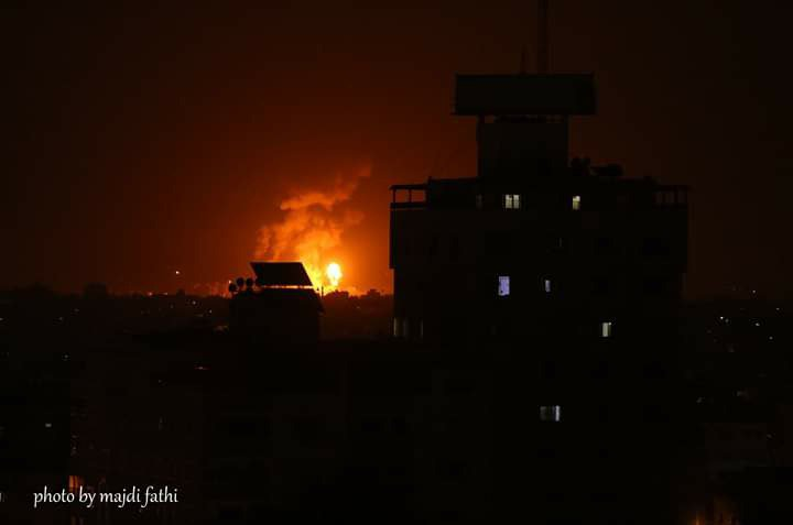 Attack against Filastin Outpost in the northern Gaza Strip, in response for firing the rockets (Facebook page of photographer Majdi Fathi, September 11, 2019)