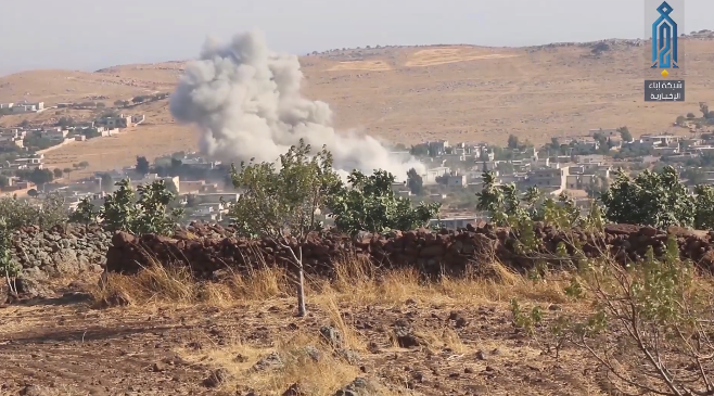 Syrian Air Force attacks around the village of Safuhan, south of Idlib.