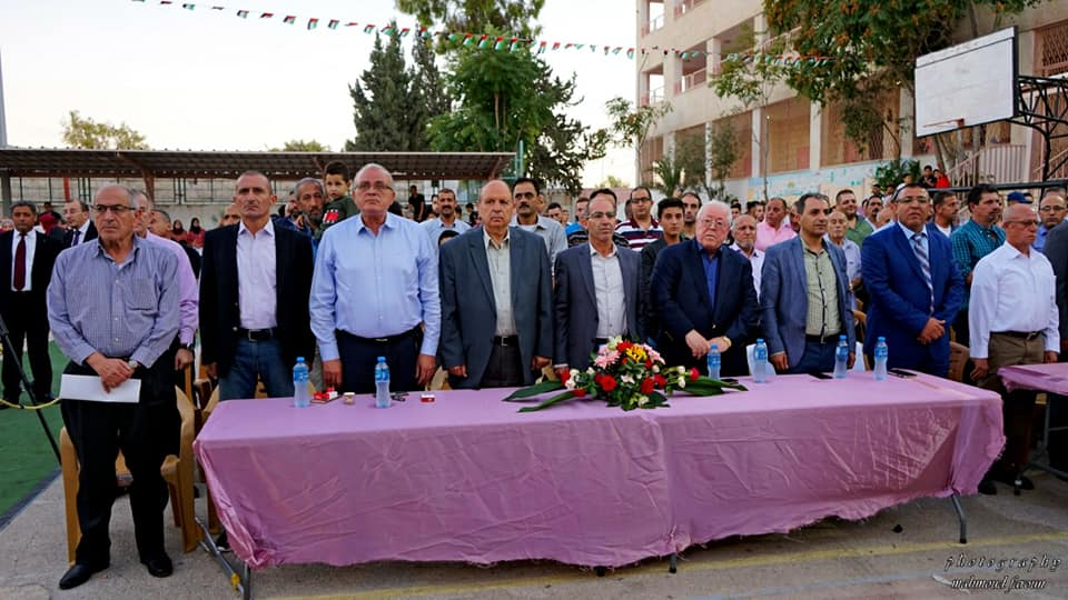 Businessman Hilmi Abu al-Rish attending the graduate ceremony in Al-Eizariya, dedicated by the local Fatah secretary to the memory of the youth who perpetrated a stabbing attack in the Old City of Jerusalem (Facebook page of Ata Jaber, chairman of the Al-Eizariya youth club, September 8, 2019)