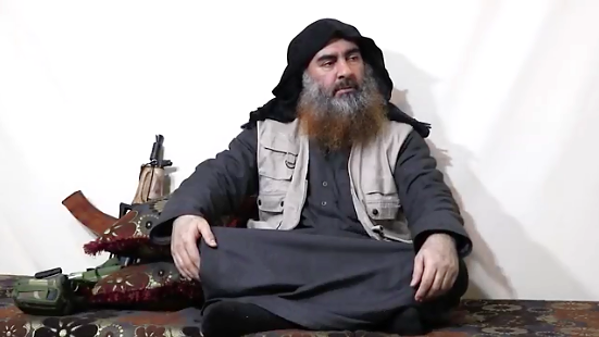 Al-Baghdadi in the previous videotape: he sounded rather exhausted at the time (Akhbar Al-Muslimeen, April 29, 2019)