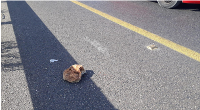 One of the stones thrown at the Israeli vehicles.