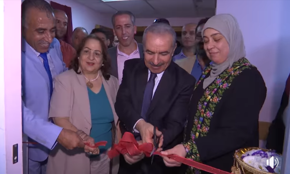 Mohammad Shtayyeh with Health Minister Dr. Mai Salem Hanna Kaileh at the inauguration of a new medical center in Ramallah (Mohammad Shtayyeh's Facebook page, September 22, 2019)