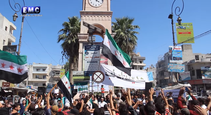 Demonstration in Idlib calling for the toppling of the Syrian regime and condemning the Russian and Chinese veto in the UN Security Council (Edlib Media Center, which opposes the Syrian regime, September 20, 2019).