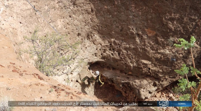 ISIS operative during cliff climbing training at the organization's training camp in Somalia (Telegram, September 21, 2019).