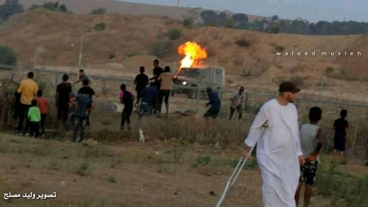 Palestinians throw a Molotov cocktail at an IDF jeep east of the al-Bureij refugee camp (Facebook page of journalist Walid Muslah, September 27, 2019).