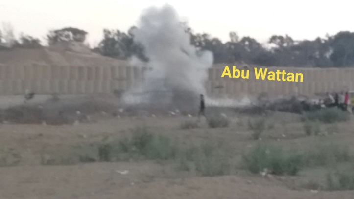 Explosion of IED thrown at an IDF jeep east of the al-Bureij refugee camp (Abu Wattan's Facebook page, October 5, 2019).