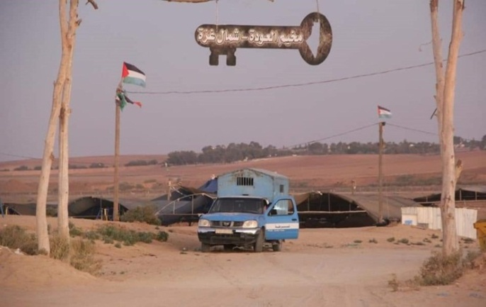 Police vehicle at the entrance to the return camp in eastern Gaza City (website of the ministry of the interior in the Gaza Strip, October 4, 2019).