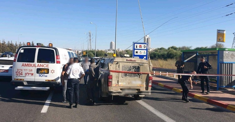 The scene of the stabbing attack at the Maccabim Junction (Ultra Palestine website, September 25, 2019).