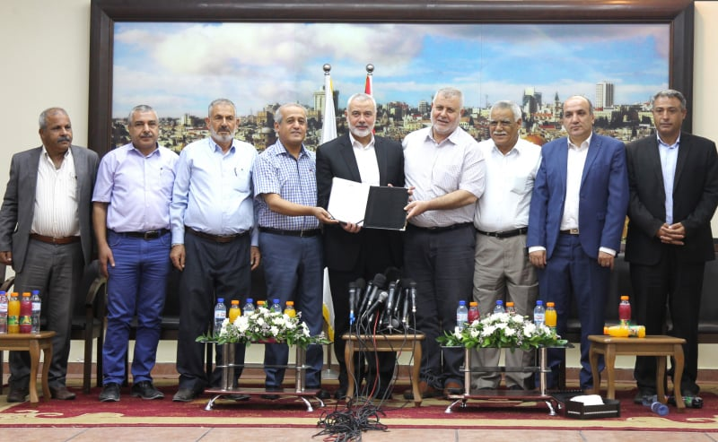 Isma'il Haniyeh and the Hamas leadership meet with the heads of the other Palestinian terrorist organizations (Hamas website, September 26, 2019).