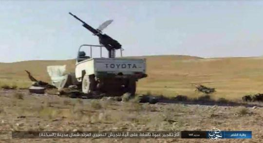 Syrian army vehicle hit by the detonation of an IED by ISIS north of Al-Sukhnah (Telegram, September 27, 2019)