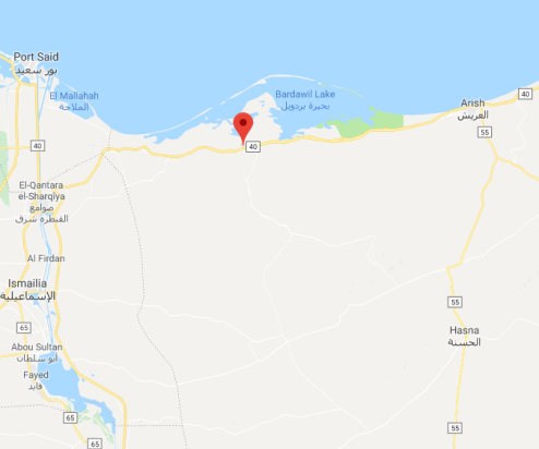 The site of the attack in Bir al-Abed (Google Maps)