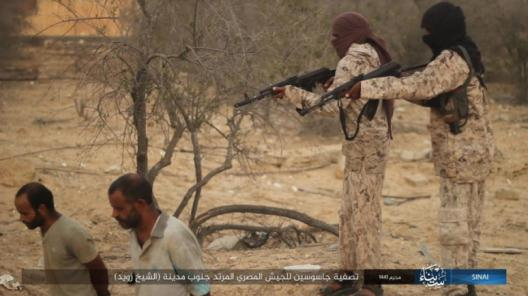 """Execution of the two Egyptian army """"agents"""" by ISIS operatives (Telegram, September 26, 2019)"""