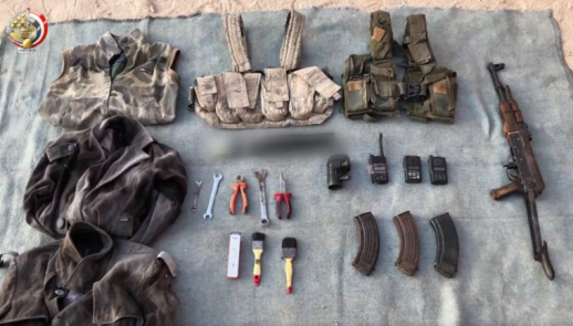 Military equipment seized during the Egyptian military activity (Facebook page of the Egyptian Armed Forces Spokesman, September 27, 2019).