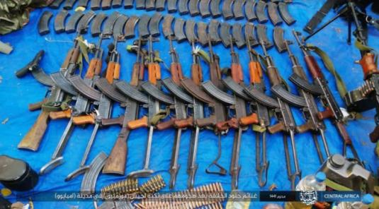 Weapons seized by ISIS operatives in the attack against a Mozambican army camp in the city of Mbamba (Telegram, September 26, 2019)