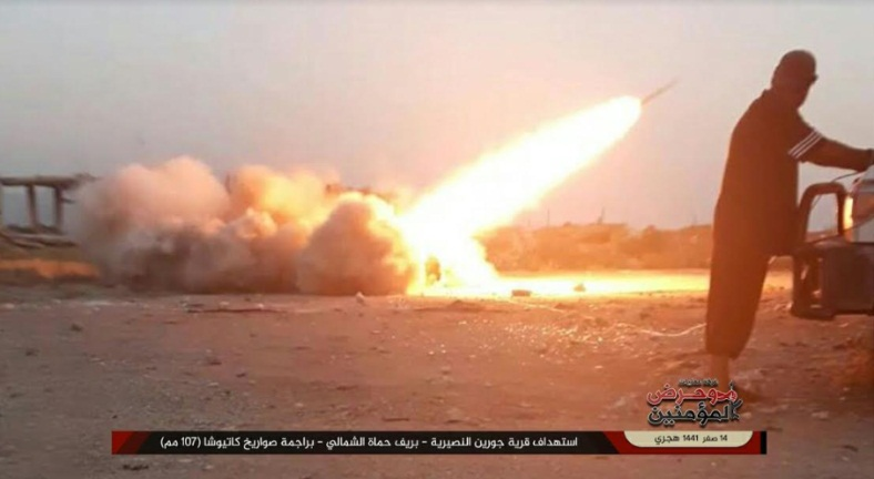 Launching rockets by the Guardians of Religion Organization at Jurin, in the northern Al-Ghab Plain (Telegram, October 14, 2019)