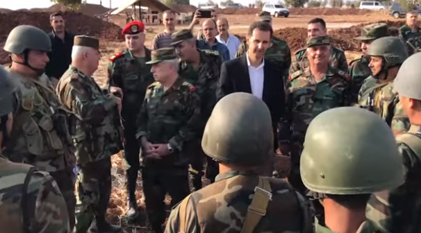 President Bashar Assad during a visit at Syrian army positions along the confrontation lines in the Idlib region (SANA, October 22, 2019)