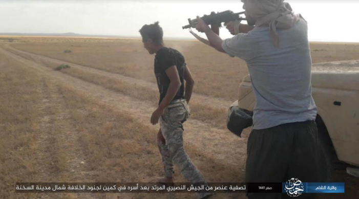 ISIS operative shooting a Syrian soldier who was taken prisoner (Telegram, October 9, 2019).
