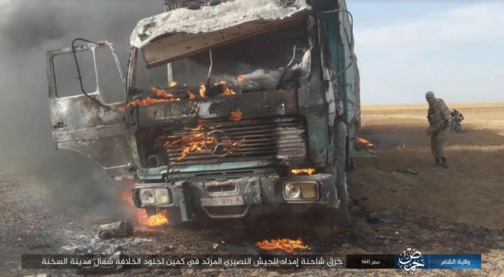 Syrian army truck burning after being set on fire by ISIS operatives (Telegram, October 9, 2019).