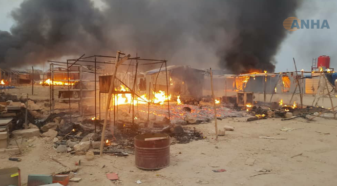 The Ayn Issa DP camp goes up in flames after operatives from a rebel organization supported by the Turks, i.e., the Syrian National Army, set fire to is (ANHA, October 16, 2019).