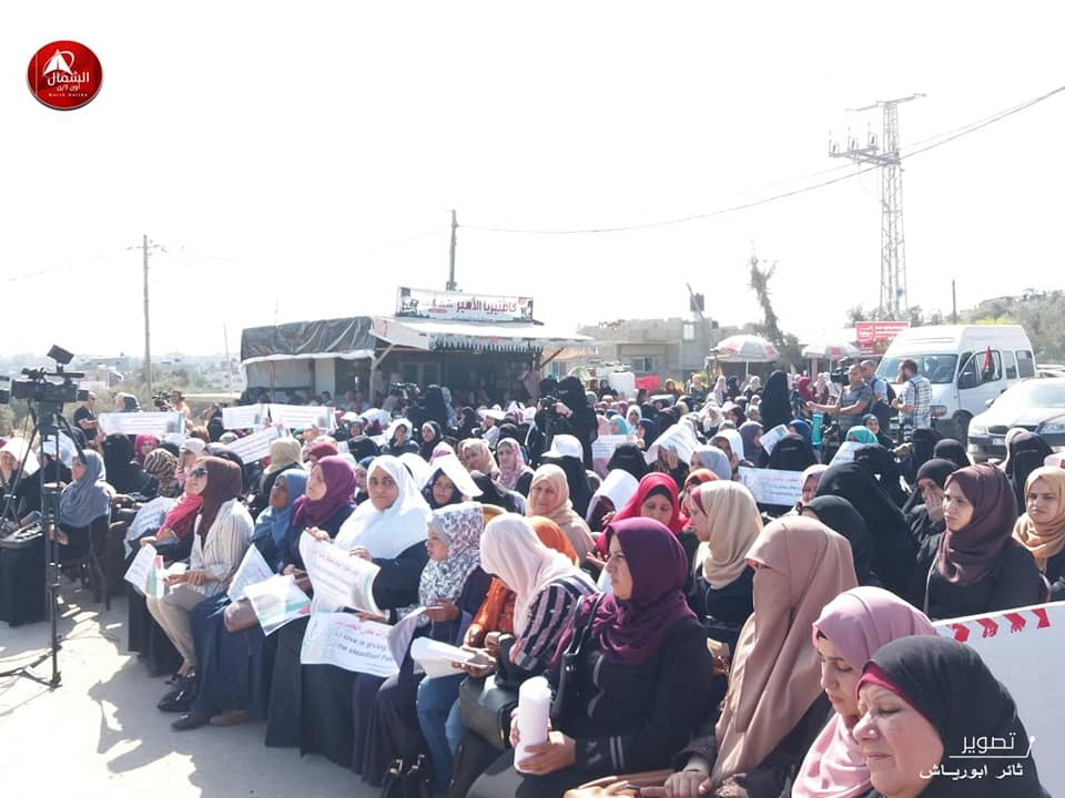 The women's rally (Right: Supreme National Authority Facebook page, October 22, 2019; left: Palestine Online, October 23, 2019).