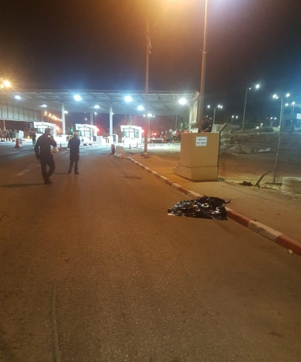 The scene of the attack at the Te'enim Crossing (Israeli ministry of defense Twitter account, October 18, 2019).