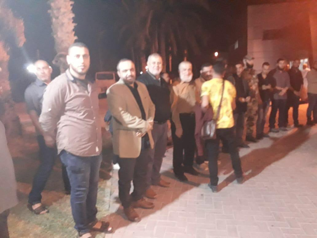 Nafez Azzam, Khaled al-Batash and Bahaa Abu al-Ita at a reception for PIJ operatives released from prison in Egypt (Twitter account of Russia Today in Gaza, October 17, 2019).