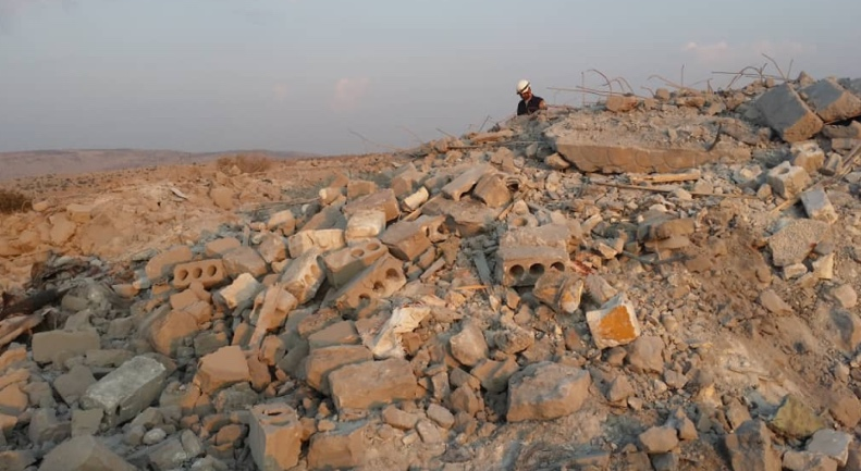 The ruins of the structure where Abu Bakr al-Baghdadi was staying.