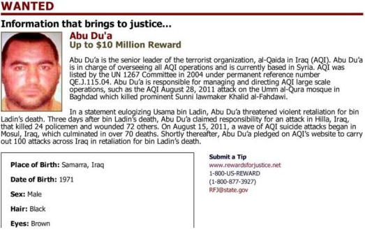 Wanted noted from the American department of state offering a reward for information about Abu Bakr al-Baghdadi (Rewards for Justice, October 2011).