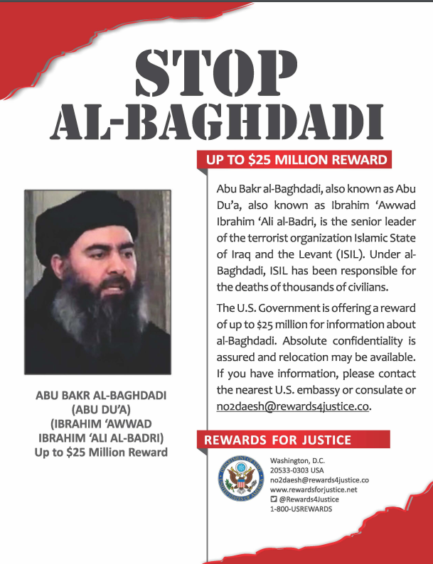 Wanted poster issued by the American department of state offering a reward of up to $25 million for information about Abu Bakr al-Baghdadi (Rewards for Justice, December 16, 2016).