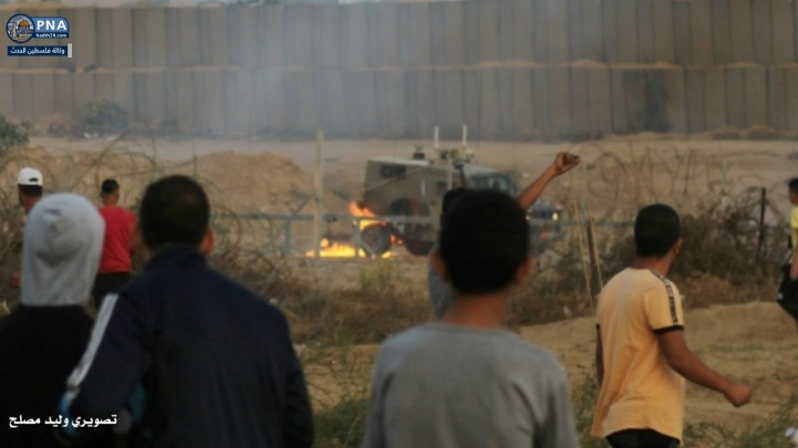 Palestinian rioters throw Molotov cocktails at an IDF jeep east of the al-Bureij refugee camp (Facebook page of journalist Walid Muslah, October 26, 2019, and Facebook page of photographer Sa'ad Abu Nabhan, October 25, 2019).