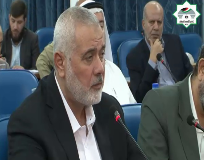 Isma'il Haniyeh speaking at a meeting of the Legislative Council (Legislative Council Facebook page, October 23, 2019).
