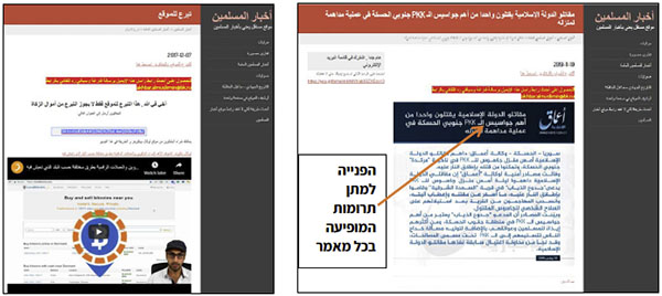 Right: One of the news items on the website. Every item includes a link for making a donation using Bitcoin. Left: The page linked from the news item: it includes the address of a digital wallet to which funds should be sent, and underneath it there is a YouTube video explaining how to send or deposit funds in virtual currencies (Akhbar al-Muslimin, November 12, 2019).