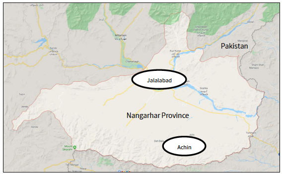 The Nangarhar Province, where the operation took place, and the mountainous Achin region, where the mass surrender of ISIS operatives and their families took place (Google Maps)