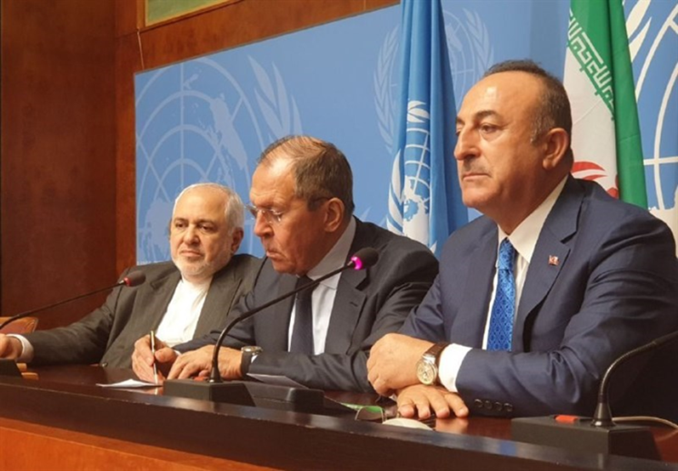 The joint press conference of the Turkish, Russian and Iranian ministers of foreign affairs (Tasnim, October 30, 2019)