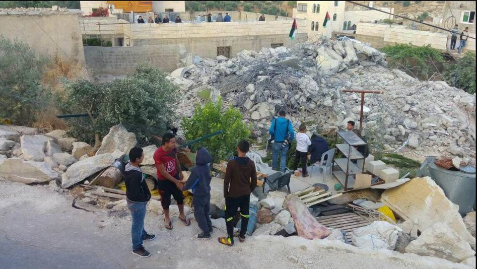 The ruins of the house of terrorist Murad Bader Idi's in the village of Yatta, destroyed by the Israeli security forces (PNN, July 11, 2016).