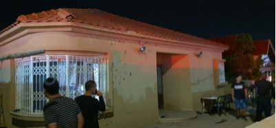 The house in Sderot hit by a rocket fired from the Gaza Strip (Palinfo Twitter account, November 1, 2019).