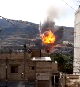 Explosion of an ammunition depot of the rebel organizations following a Russian airstrike (Muraselon, October 31, 2019)